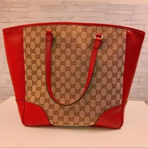 Gucci Bree Red Leather Beige GG Canvas Tote